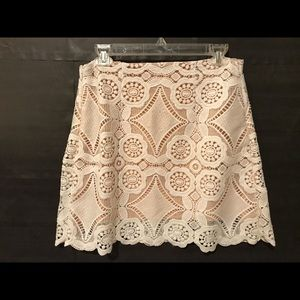 Abercrombie and Fitch white lace mini skirt